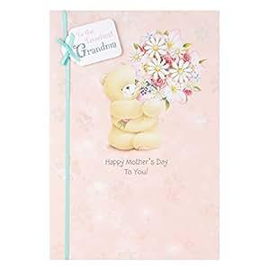 Hallmark - Biglietto d'auguri per festa della mamma, per nonna, con delizioso orsetto di Forever Friends e fiori, 3D, formato grande