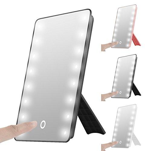 Sentik® beleuchteter Kosmetikspiegel/Make-up-Spiegel mit 16 LED-Leuchten, tragbar, Touch-Bildschirm, batteriebetrieben, kabellos schwarz (Make-up-spiegel-leuchten)