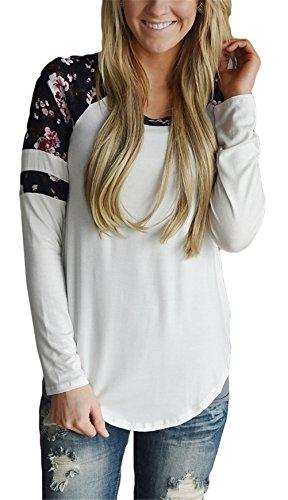 Femmes sexy ras du cou à manches longues impression florale Brochage Slim T-shirt Chemisier Noir