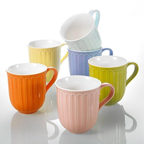 Panbado, Bunte Kaffeetassen aus Porzellan, 6-teilig Set Mokkatassen, 310 ml Tassen, Teetassen,...