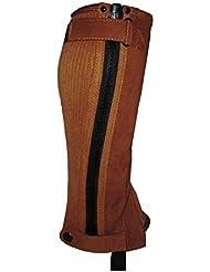 Chaps d'équitation pour enfant Cheval Guêtres en cuir noir ou marron Amara mains sur Equestrian