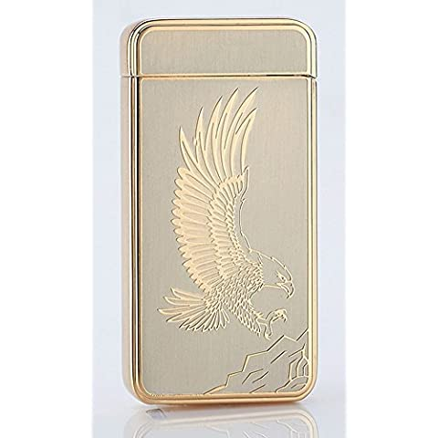 [Best Electric Lighter] CJOY USB Rechargeable Electronic Arc Lighters No Flame - Eagle Gold - Gifts for Smokers by