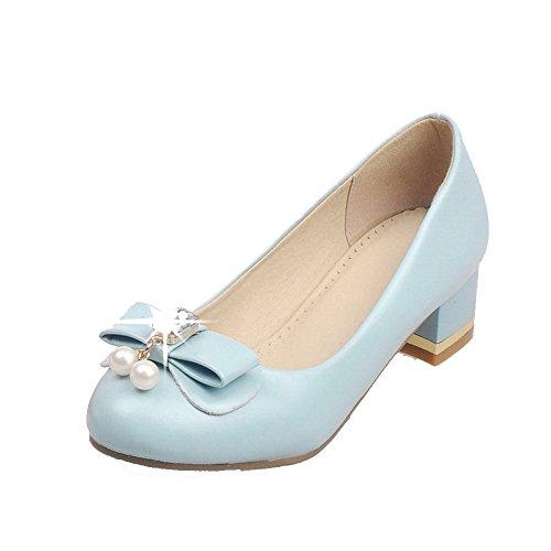 AgooLar Damen Rund Zehe Niedriger Absatz Rein Ziehen Auf Pumps Schuhe Blau