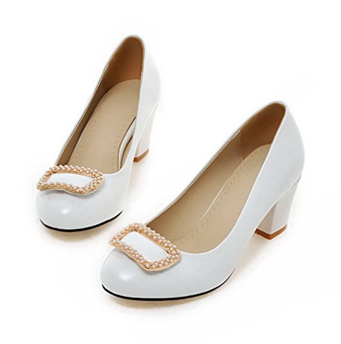 Chaussures Agoolar Correct Rond Talon À Mosaïque Légeres Blanc Tire YcWqR5gnw
