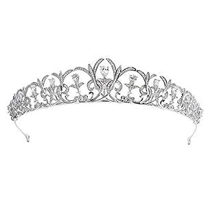 Sepbridals Zirkonia CZ Hochzeit Brautschmuck Tiara Krone Diadem Frauen Haar-Accessoires Schmuck