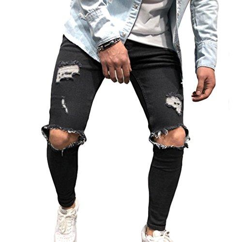 Herren Stretch-Denim Skinny Fit Denim-Hosen Destroyed Ausgefranste Stretch-Zerrissene Knie-Jeans Schwarz S (Herren-skinny-jeans Zerstört)