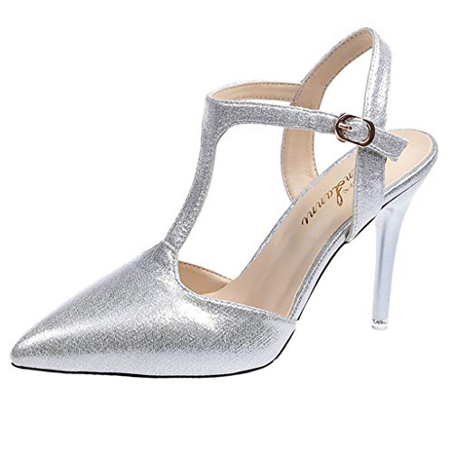 feiXIANG Damen Schuhe Stiletto Party Abend Sandalen High Heels Frauen Pointed Toe Business Pumps(Silber,36) Patent Stiletto Pump