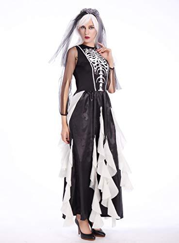 Shi18sport Erwachsene Frauen Halloween Corpse Bride Kostüm Damen Fancy Joker Kleidung Cosplay Kleid Outfit Scary Skeleton Anzüge Für Mädchen