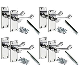 4 Pairs Lever Latch Scroll Door Handles [by XFORT] Door Handle Set for Wooden/Timber Doors, Polished Chrome Door Handles Ideal for All Types of Internal Doors. [Polished Chrome, 4 Pairs].