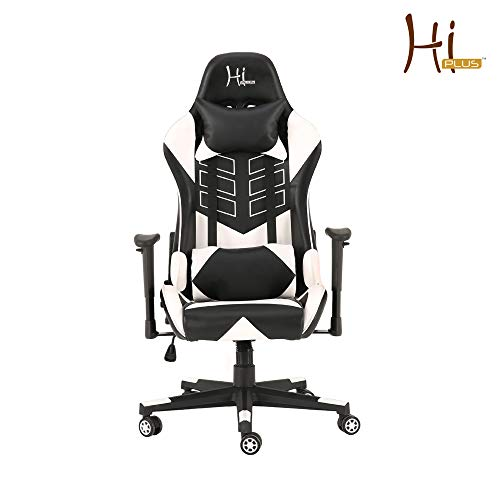 Hi-Plus Esports Racing Style High Back Gaming Chair - White & Black