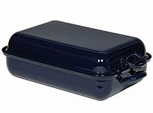 RIESS poêle color-plat à gratin-avec couvercle-ø 37 x 26 cm-hauteur :  13,60 cm bleu