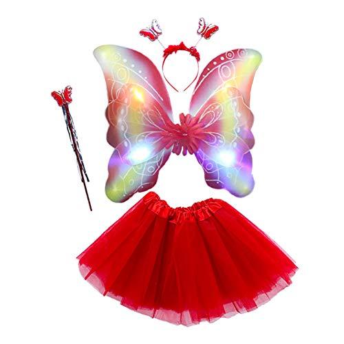 EZSTAX 4pcs LED Leuchtend Schmetterling Kostüm Halloween Cosplay Prinzessin Elfe Flügel mit Zauberstab für Party Karneval Fasching Fastnacht Halloween,Rot 2#