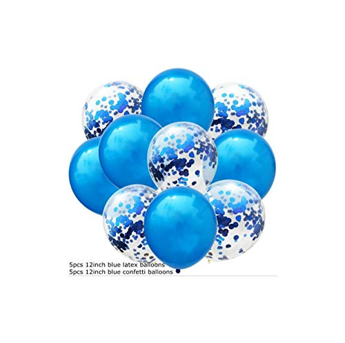 t 12inch Confetti Air Balloons Happy Birthday Party Balloons Helium Balloon Decorations Wedding Balloons Party Supplies,5blue 5con ()