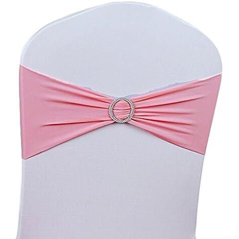 v-dragon elasticizzato Chair Cover Band fiocco Sash banchetto di nozze partito Decor, Pink 2, 100 pezzi