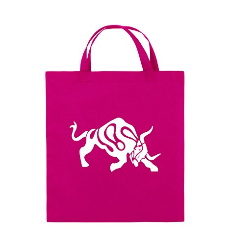 Comedy Bags - STIER - COMIC - Jutebeutel - kurze Henkel - 38x42cm - Farbe: Schwarz / Silber Pink / Weiss