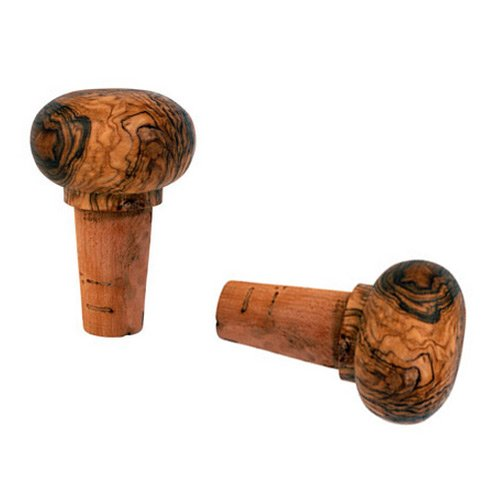 FLASCHENVERSCHLUSS AUS OLIVENHOLZ UND KORK (2 Stück) von Mastro Leonardo - Handarbeit aus Italien (Flaschenkorken - Korken)