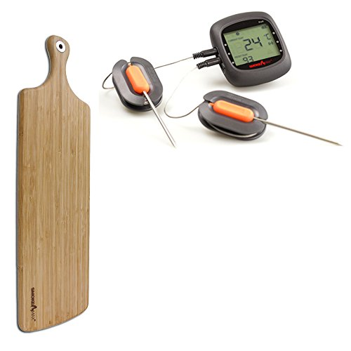 Smoke Max® PRO Set - Pro6 Bluetooth Smart Wireless BBQ application Barbecue Thermomètre + Smoke Max XL Grand® Plateau Planche à découper Design Planche à Découper en Bambou 100% naturelles