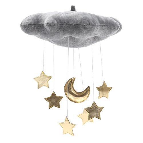 winomo Baby Deckenleuchte Mobile zum Aufhängen Cloud Dekorationen MOND UND STERNE Girlande für Kinderzimmer Baby Dusche (grau)