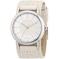 Esprit Alcenia Women's Quartz Watch with Silver Dial Analogue Display and White Leather Strap ES105392002