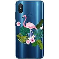 Oihxse Case Transparente Suave TPU Compatible con Motorola Moto G6 Funda [Lindo Caricatura Flor Serie Dibujos] Cristal Protector Carcasa Anti Rasguños Bumper Cover-Flamenco