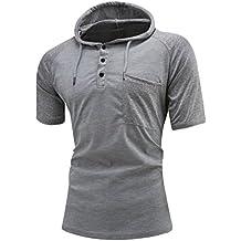 Yvelands Handsome Raglan Contrast Hoodie Casual Camiseta de Manga Corta Camisa con Botones de Bolsillo Blusa