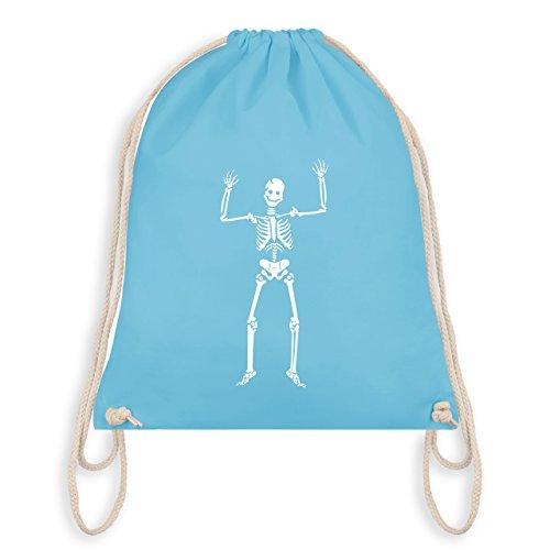 Halloween - Skelett Skeleton - Turnbeutel I Gym Bag Hellblau