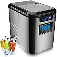 Hengda Machine à glaçons 150W en acier inoxydable Machine à glaçons avec cuillère à glace 3 tailles de glaçons Fonction…