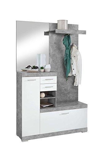 Avanti Trendstore - Bristo - Kompaktgarderobe mit Spiegel, Paneel und Schuhschrank, aus Holzdekor...