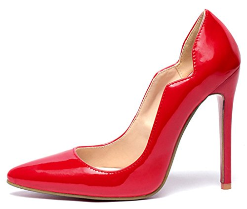 YE Shoes 12CM Lack High Heels Spitze Stilettos Patry Pumps Mit Roter Sohle Schuhe Rot