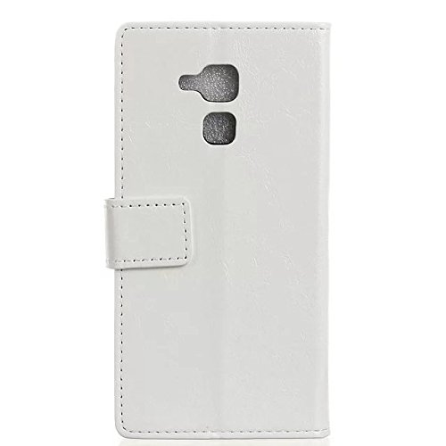 Verrückte Pferd Texture Pattern synthetische PU-Leder Fall horizontale Flip-Ständer Case Wallet Fall Deckung Solid Color Case für Huawei Honor 5C ( Color : Red , Size : Huawei Honor 5C ) White
