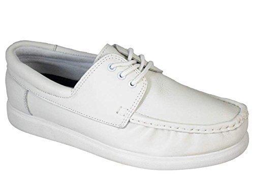 Crown King Herren Leder Spitze bis Rasen Schalen Schuhe, Farbe Weiß & Grau Weiß - weiß