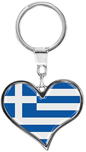 """Preisvergleich Produktbild Premium Schlüsselanhänger in Herz - Form """"Flagge Griechenland"""""""