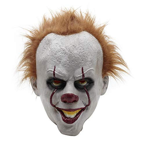 ke Herren,Stephen King's Mask für Erwachsene ,Scream Halloween Clown Maske weiß,Stephen King's Mask Scary Mask Latex Männe Mask Scary Costume Cosplay ()