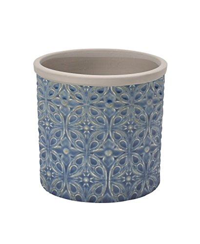 Burgon & Ball Pot de fleurs d'intérieur en céramique Porto - Bleu foncé - Taille S bleu