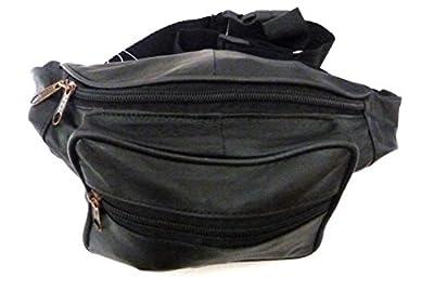 Souple en Cuir Noir Sac de ceinture/Sac banane avec compartiments avec fermeture éclair