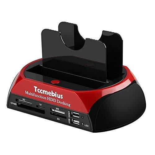 Tccmebius TCC-S862-DE USB 2.0 zu SATA IDE Dual-Bay HDD Festplatte Docking-Station mit Kartenleser und USB 2.0-Hub für 2.5 3.5 Zoll IDE SATA I/II/III HDD SSD
