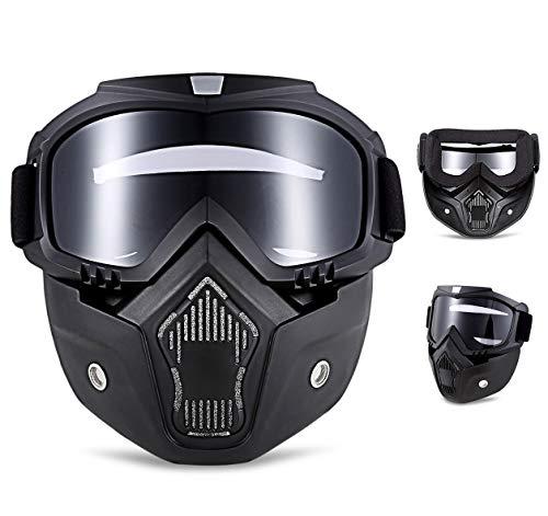 QYLT Motorrad Brille Maske Abnehmbaren Schutzbrille und Mund Filter für Open Face Helm Motocross Ski Snowboard Vintage Helme (DREI Farben optional) (Kinder-ski-schutzbrillen, Klare Linse)