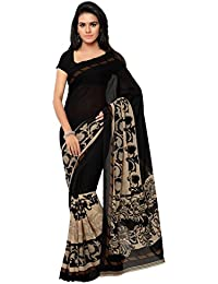 Aaradhya Fashion Women's Georgette Printed Saree With Blouse Piece (Simple-001_Black)