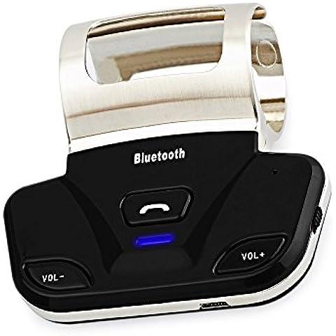 PROZOR Kit Vivavoce Wireless Multipunto Handsfree per Auto Volante / Speakerphone Bluetooth 3.0 + EDR con Microfono Incorporato - per iPhone 6/ Plus iPhone 5S 5 Samsung S6 S5 S4