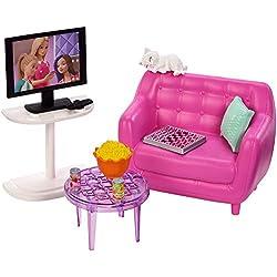 Barbie Mobilier coffret d'intérieur pour poupée avec meubles de salon, chaton, meubles et accessoires, jouet pour enfant, FXG36