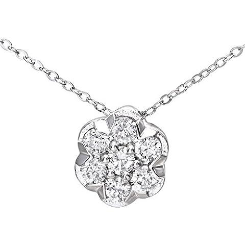 Revoni - Collana Cluster con pendente in oro bianco 9 kt con diamanti incastonati a pietra, 46 cm di lunghezza