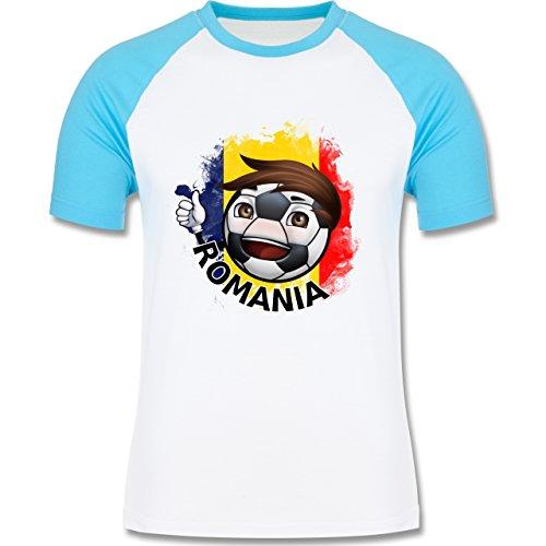 EM 2016 - Frankreich - Fußballjunge Rumänien - zweifarbiges Baseballshirt  für Männer Weiß/Türkis