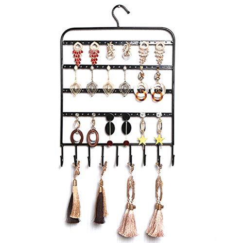 Schmiedeeisen Rahmen Schmuck Organizer mit 9 Haken, Schmuckständer, Wandbehang dekorative Schmuckhalter für Ohrring, Halskette und Armband, schwarz - Schmiedeeisen Oberflächen