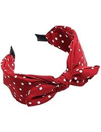 BODHI2000 ampia stampa a pois fiocco con nodo cerchio dei capelli turbante fascia  per donne ragazze f8eaa30c4cd2