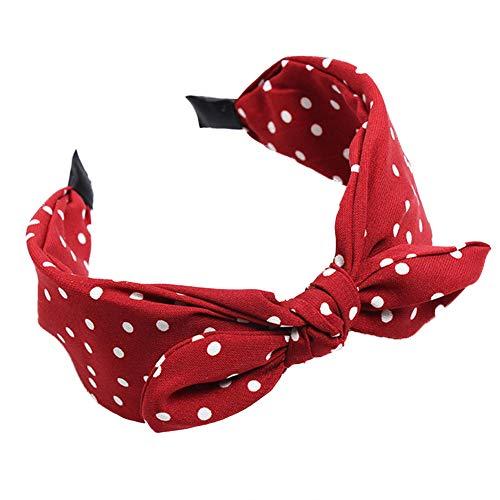 ValianhAgen Damen Haarband mit Schleife, gepunktet, breites Band