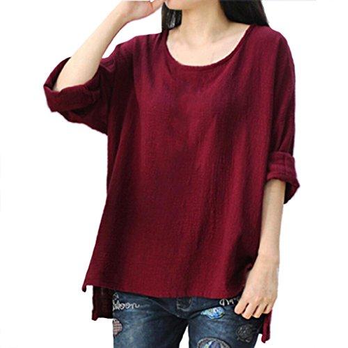 Damen Bluse Dasongff Frauen Lose Pullover Baumwolle und Leinen Große Bluse Langarmshirt T-Shirt Oberteil Tops Bluse Plus Größe L~4XL (Weinrot, 4XL) (Kleidung Baumwolle Plus Größe)