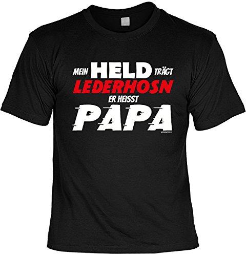 Papa/Väter-Spaß/Fun-Shirt/Rubrik lustige Sprüche: Mein Held trägt Lederhosn Er heisst Papa geniales Geschenk Schwarz