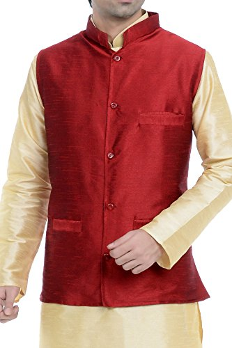 Vastramay Red Cotton Silk Solid,Woven Men's Sleeveless Jacket ( Size: 40)