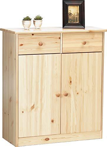Schublade Kiefer Kommode (Steens Mario Kommode, 2 Türen, 2 Schubladen, 78 x 89 x 34 cm (B/H/T), Kiefer massiv, natur lackiert)