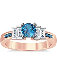 Silvernshine 1.35Ct Round & Buget Cut Aquamarine Sim Dimoands 14K Rose Gold PL Engagement Ring